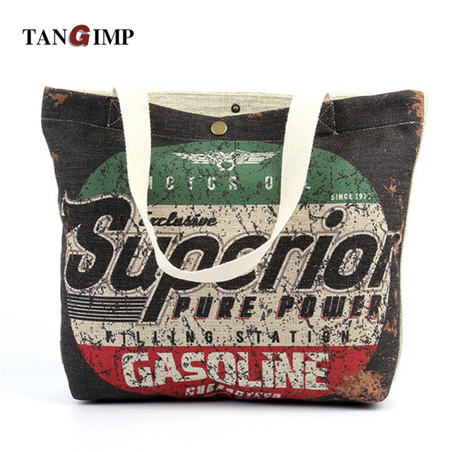 3c773d3428a4 TANGIMP Vintage Letters Printed Tote Bag Women Heavy Duty Eco Cotton Linen  DIY Crafts Grocery Shopping Beach Bags Handbags