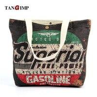 TANGIMP Vintage Mektuplar Baskılı Bez Çanta Kadın Ağır Eko Pamuk Keten DIY El Sanatları Bakkal Alışveriş Plaj Çantaları Çanta