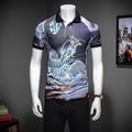 Дракон 3D Печати M-3XL 2017 Летом С Коротким Рукавом Polo Shirt мужчины Бизнес Случайный Мужские Рубашки Camisa Polo Polo Мужской Поло Homme
