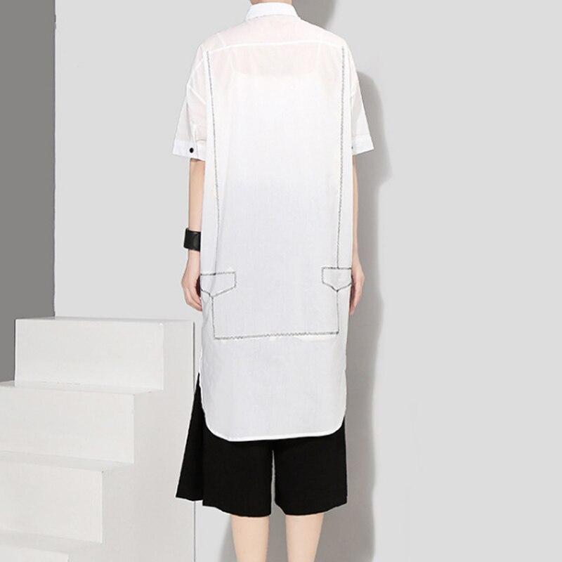 D'été Le Long blanc Solide Extrêmement Hongsonghan Style Tournent Normcore Blouses Coréenne Avec Simple Noir Minimaliste Vers Couleur Bas Lignes Et aHHtfYxq