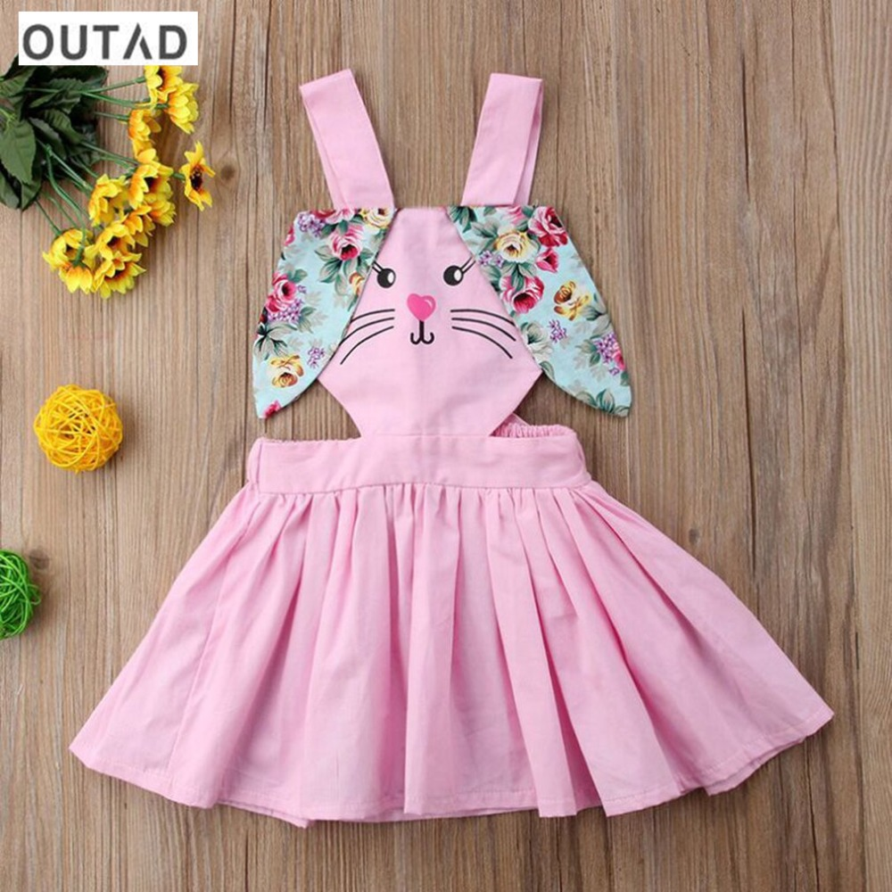 OUTAD Cute Baby Girls Rabbit Ear Sling Dresses Cotton Blend Mini A Line Summer Dress Sundress Party Vestidos Children Clothing