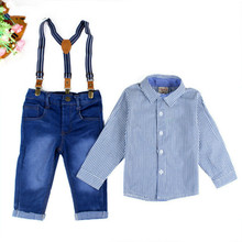 2016 Boys Clothes Suit Gentleman Autumn long-sleeved striped shirt + Strap jeans 2pcs/set baby kids children's suit denim pants