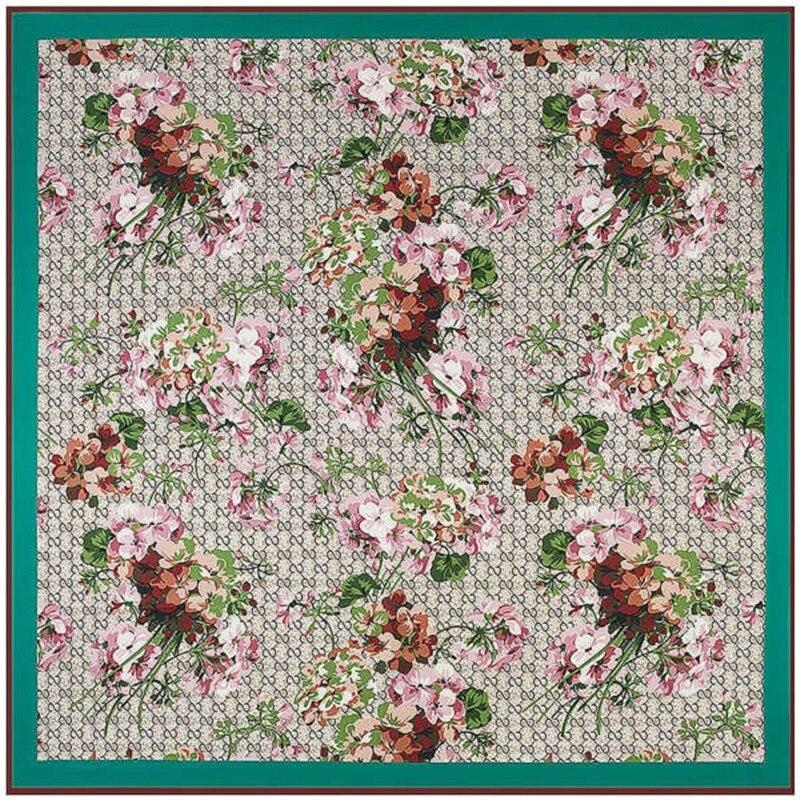 Twill Silk Women Scarf 130*130 cm Euro Design Geranium Flower Print Square Scarves High Quality Gift Fashion Large Silk Shawls