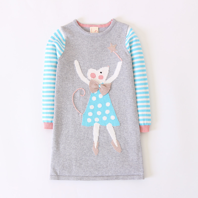 Cartoon Sweater Dress Long Sleeve New Design Girls Knittted Wool Dress Striped Sweaters for Baby Kids Winter Warm Clothes цена