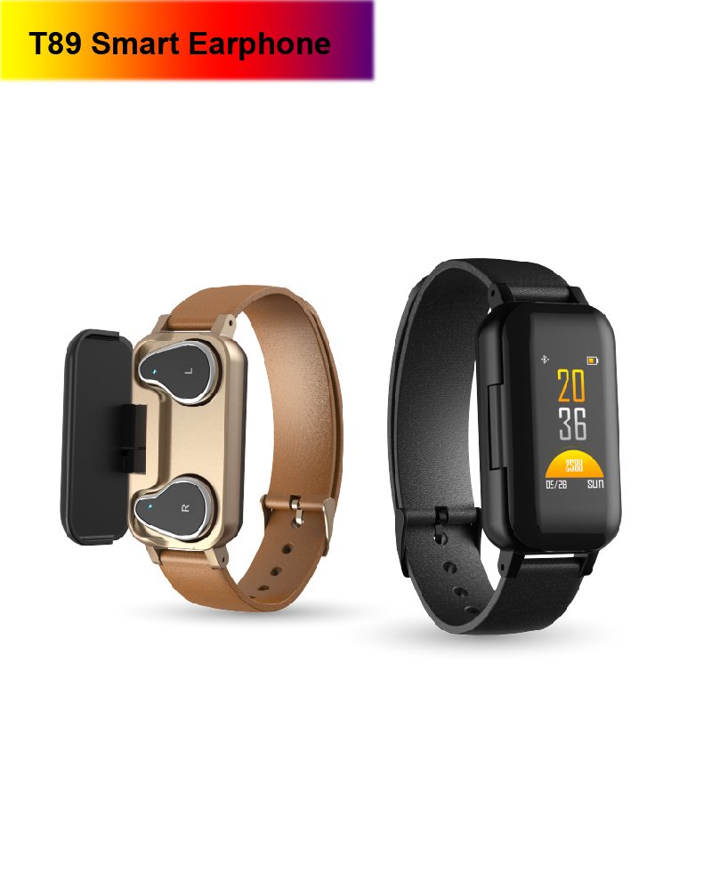 <font><b>T89</b></font> <font><b>TWS</b></font> Smart Binaural Bluetooth Earphone Fitness Bracelet Heart Rate Monitor Smart Wristband Sport Watch Earphone Men Women image