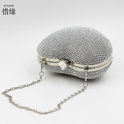 XIYUAN BRAND Good Quality Women Full Diamond Clutch Evening Bags Luxury Rhinestone Bling silver Wedding Bridal Bag Shoulder Bag