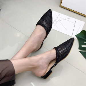Image 4 - Womens Pointed Low Heel Slippers NIUFUNI Summer Cane Woven Rattan Grass Sandals Beach Shoes Womens Slippers Flat Shoes Slides