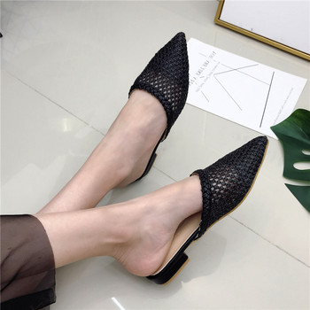 Women's Pointed Low Heel Slippers NIUFUNI Summer Cane Woven Rattan Grass Sandals Beach Shoes Women's Slippers Flat Shoes Slides 3