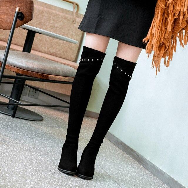 Kadın Süet Yuvarlak Ayak Yüksek Çizme Diz Çizme Toka Kayış Yüksek Topuklu Ayakkabı deri çizmeler kadın martin # g10