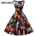 VESTLINDA Vintage Dresses 50s 60s Floral Print 2017 Summer Tunic Dress Women Elegant A line Audrey Hepburn Ball Gown Midi Dress
