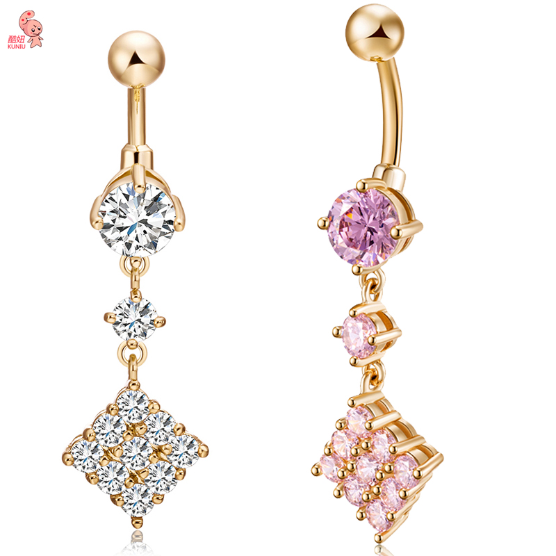 KUNIU New Fashion Luxury Zircon Navel Piercing Bell Button Rings Navel Body Belly Piercing Nombril Body
