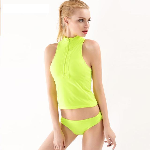 1d0b48c9fadb5 High Neck Tankini Sports Style Zipper Bikini 2017 2 Pieces Swimwear High  Elastic Swimsuit Maillot de bain Fluorescent Yellow XL