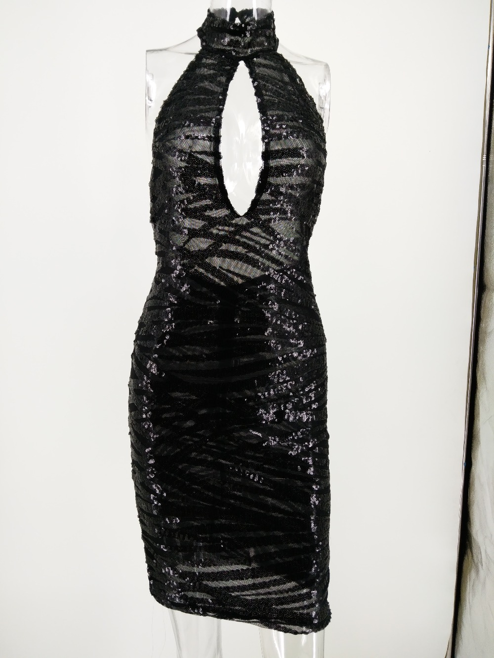 Sexy Night Club Wear Summer Sequins dress women Backless black bodycon Dress elegant robe femme vintage Party Dresses Vestidos in Dresses from Women 39 s Clothing