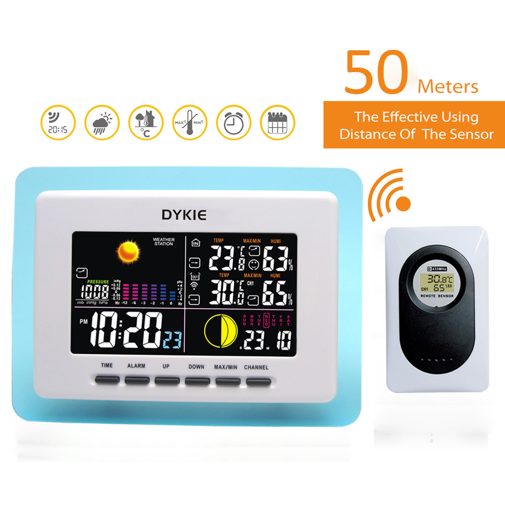DYKIE Digital Wireless Weather Station Blue Transparent Frame Backlight Double Alarm Clock Temperature Humidity Transmitter weather station digital lcd temperature humidity meter