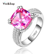 Eleple Pretty Pink Ring Stone 8ct Cubic Zirconia Rings For Lady Elegant Wedding Jewelry Best Gifts Female Bulk Price VSR146