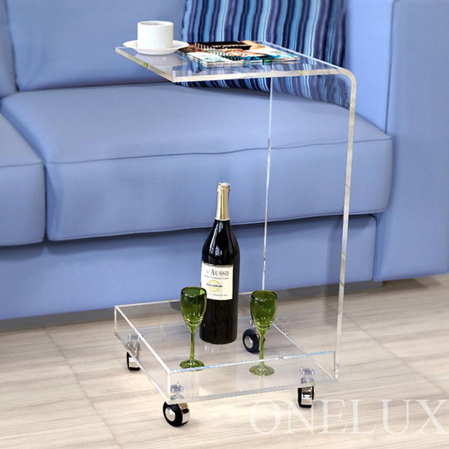 C Shaped Waterfall Acrylic Occasional Side Tray Table On Wheels, Rolling  Sofa Tea Tables
