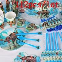 Moana Maui 112Pcs/Lot Baby Shower Children Birthday Decoration Wedding Celebration Supplies Disposable Tableware Sets