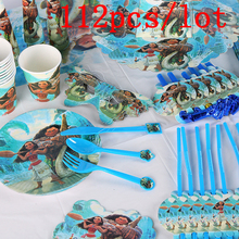 Moana Maui 112Pcs/Lot Baby Shower Children Birthday Decoration Wedding Celebration Supplies Disposable Tableware Sets