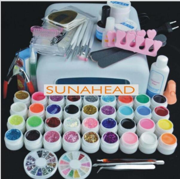 купить Pro NAIL ART BASE TOOL 36W UV Lamp & 36 Color UV builder GEL soak off Gel nail base gel top coat gel nail polish kit Manicure S онлайн