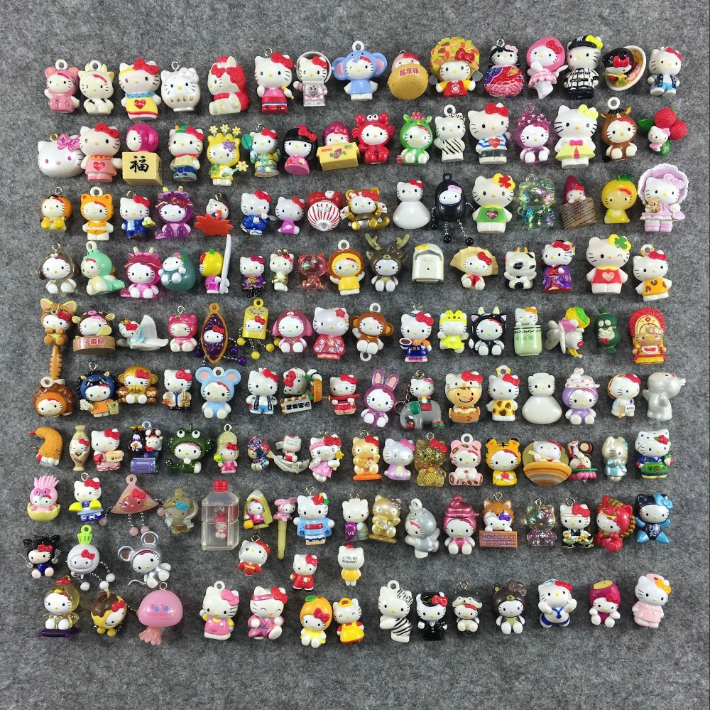 цена на Cute 1.5-2.5cm mini Hello Kitty Action Figures Plastic PVC Birthday Christmas Toy Children Kids Home Cake Decor Collectible Toys