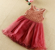 Girls Tutu Dress Sequins Lace Party Dresses Sleeveless Kids Birthday Wedding Frocks Red Pink Dance Clothes For 3-7 Years GD61