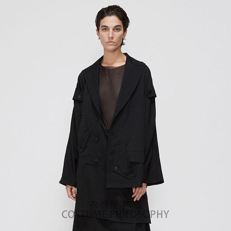 S 6XL!!Homemade men's trench coat with asymmetrical irregular dark tone.