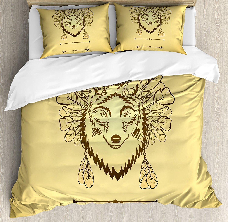 Loup housse de couette ensemble artistique loup Portrait avec plumes Totem Animal ethnicité spiritualité, décoratif 4 pièces ensemble de literie