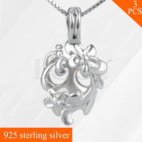 New Fashion Lovely Flower Locket Pendant 925 Sterling Silver Cage Necklace Pendant