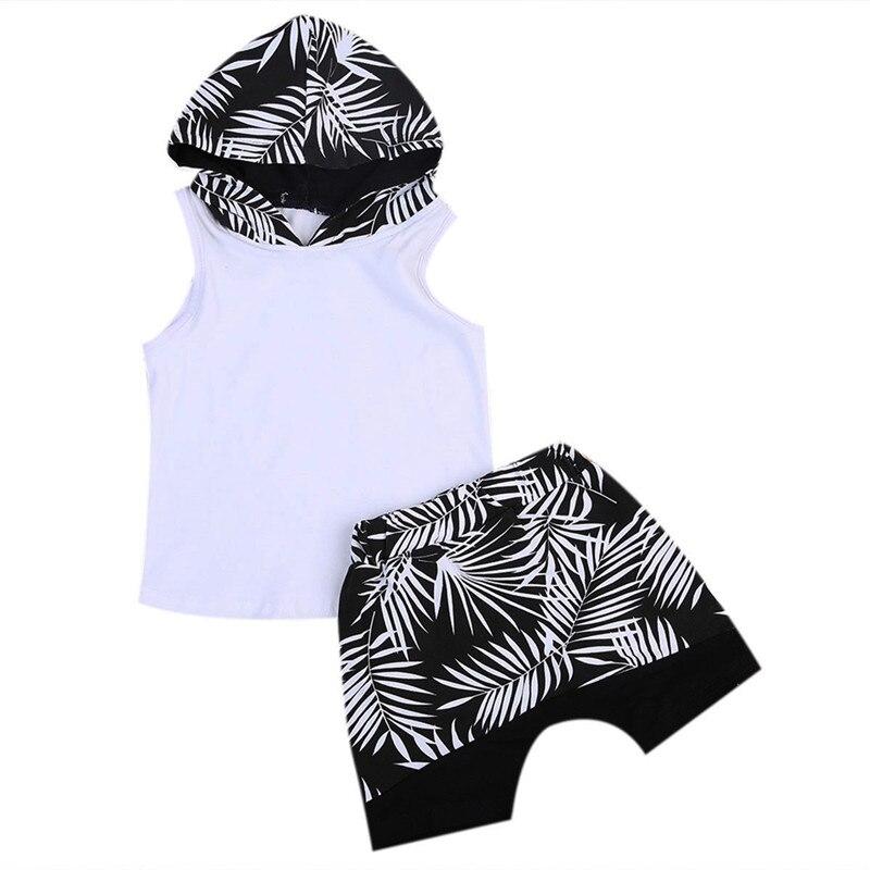 2017 Casual Cotone Senza Maniche 2 Pz Toddler Capretti Del Bambino Dei Ragazzi Di Modo Vestiti Con Cappuccio T-shirt Top Pantaloncini Pantaloni Outfit 1-6 T Playsuit
