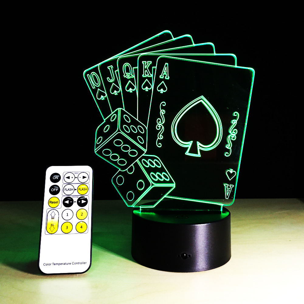 New 3D illusion Nightlight Changeable Lihgting USB Table Desk Bedroom Bedside Lamp Decoration with Poker and Dice Shape
