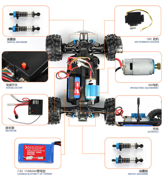 Wltoys A979 1/18 2.4GHz 4WD High Speed Monster 50Km/H Rc Racing Car With Transmitter RTR Remote Control Off-Road Vehicle 3
