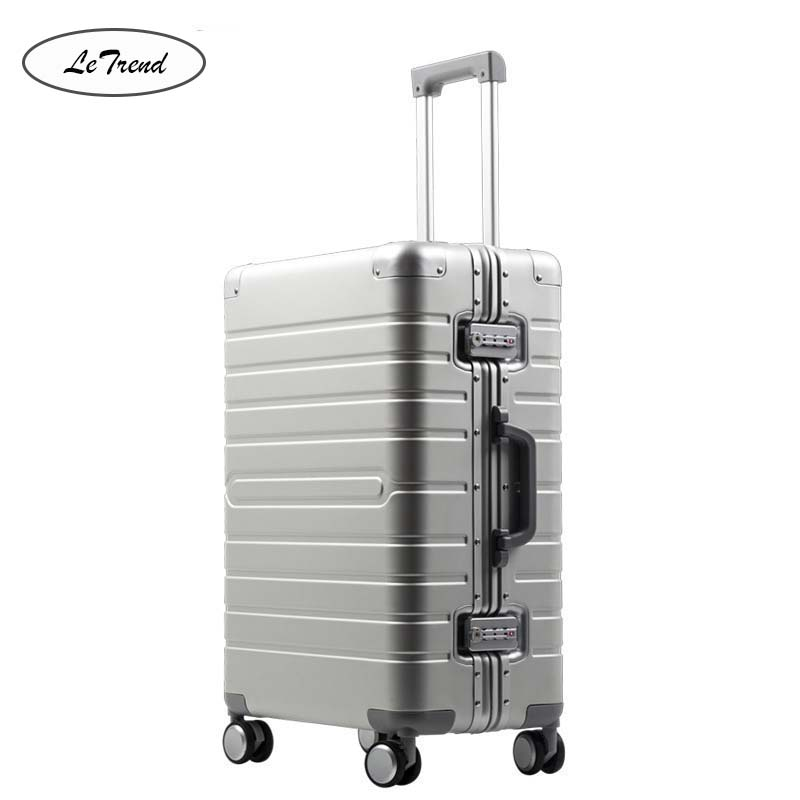 LeTrend 100% Aluminum-magnesium alloy Rolling Luggage Spinner Men Business Brand Suitcase Wheels 20 inch Trolley Travel Bag
