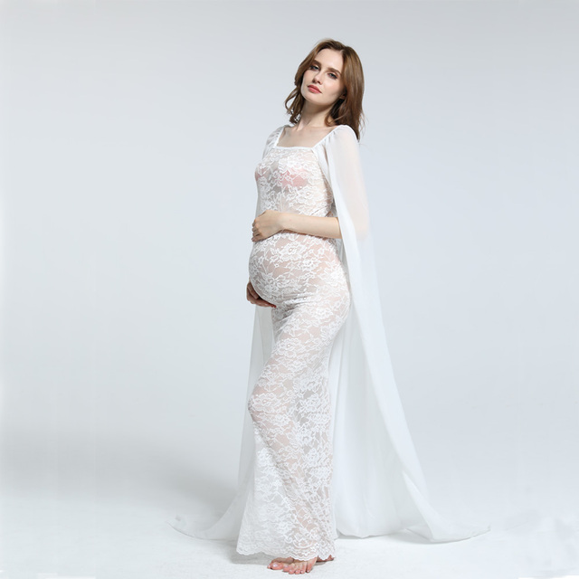 Stretch Lace Boob Tube with Soft Chiffon Cape Maternity Dress MATERNITY PHOTOGRAPHY DRESS BABY SHOWER GIFT