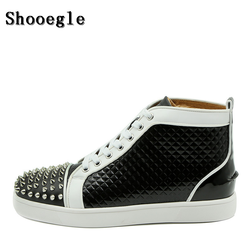 SHOOEGLE Luxury Men Patchwork Lace-up Sneaker Leather Ankle Boots Zapatillas Hombre Motorcycle Shoes Man Gladiator EU39-47 new spring men shoes trainers leather fashion casual high top walking lace up ankle boots for men red zapatillas hombre