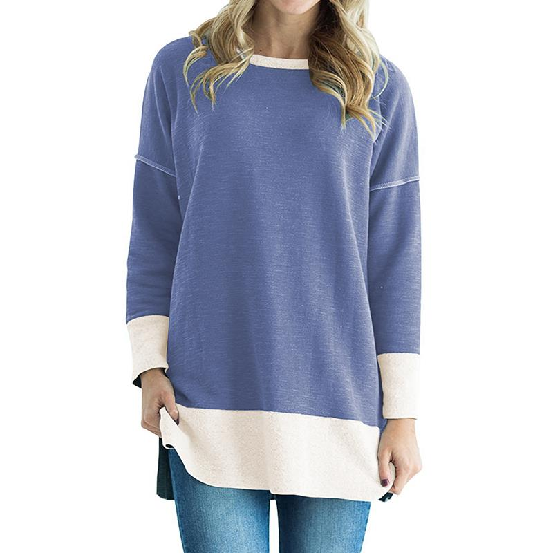 T-Shirt 2018 Black Friday Autumn Women Loose Casual Tops Long Sleeved O-Neck Color Patchwork Pullover WS4745V