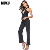MUXU sexy black jumpsuit summer womens backless long plus size europe and the united states jumpsuits rompers 2018 jumpsuit kort