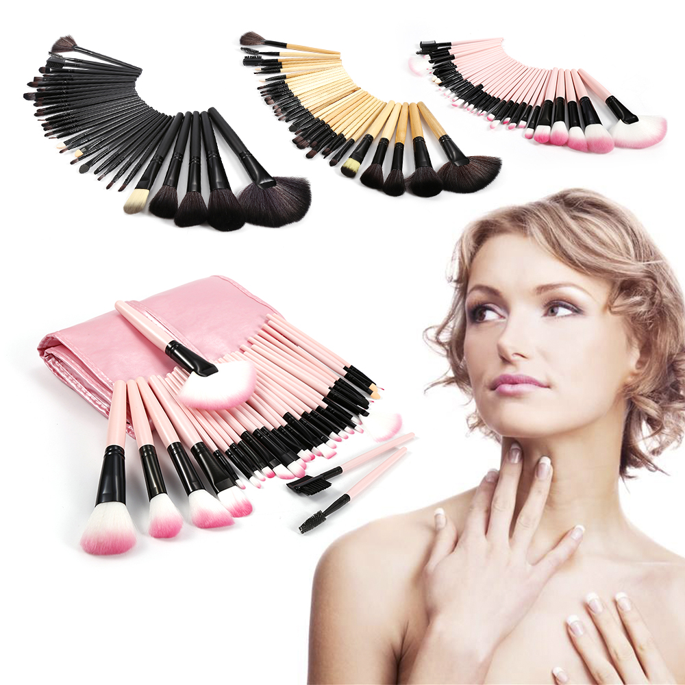 Professional 3 Colors 32Pcs Makeup Brush Sets Tools Cosmetic Brush Foundation Eyeshadow Eyeliner Lip Powder Cosmetics Brush Kit 7 inch black round plastic rotary plate turnplate clay pottery sculpture tool