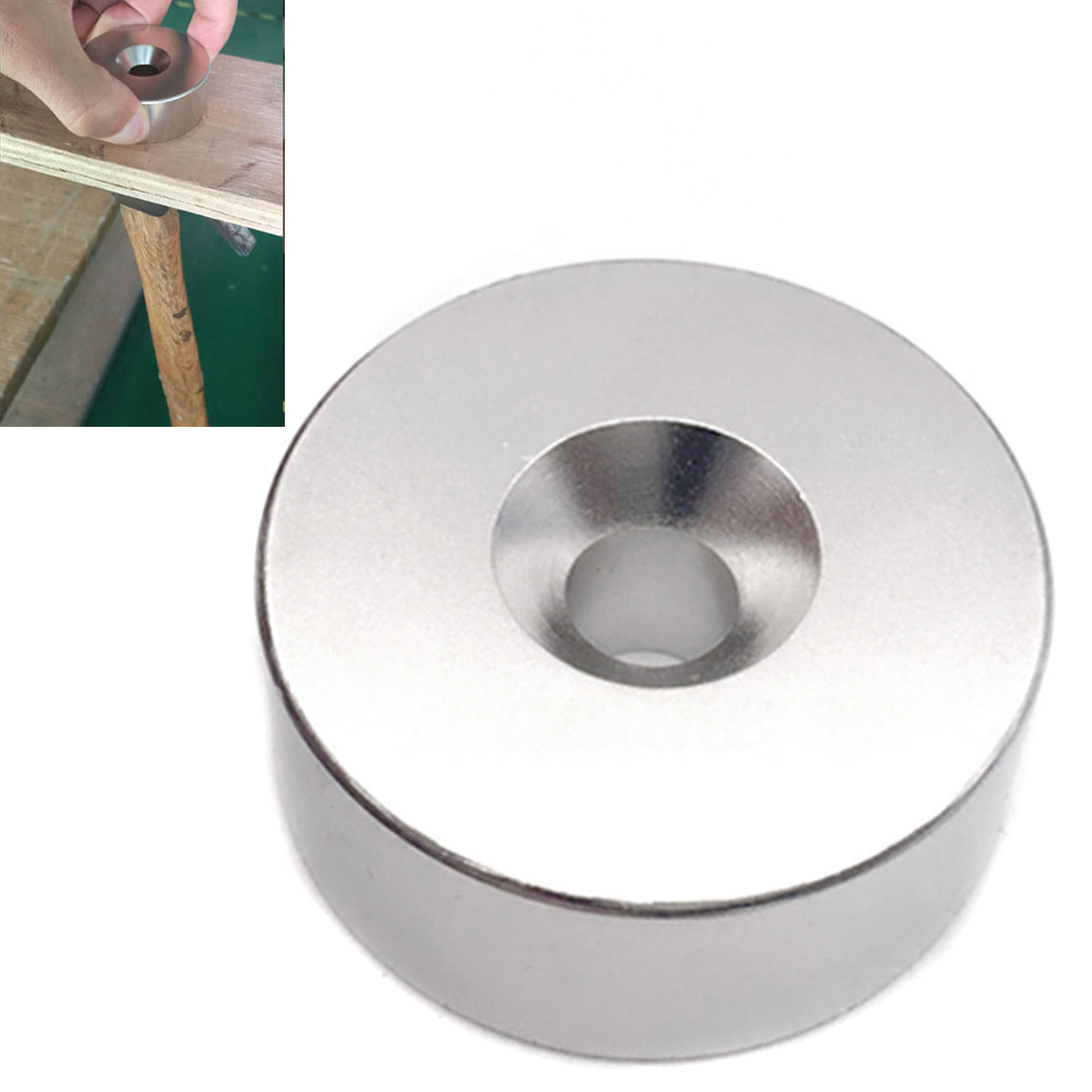 1pc N52 Super Strong Round Disc Magnets Hole Rare Earth Neodymium Salvage Magnet For Hunting Recovering Keys 60*20mm Mayitr 50pcs round n52 neodymium magnets strong rare earth magnet disc 20mm x 3mm for industry tools