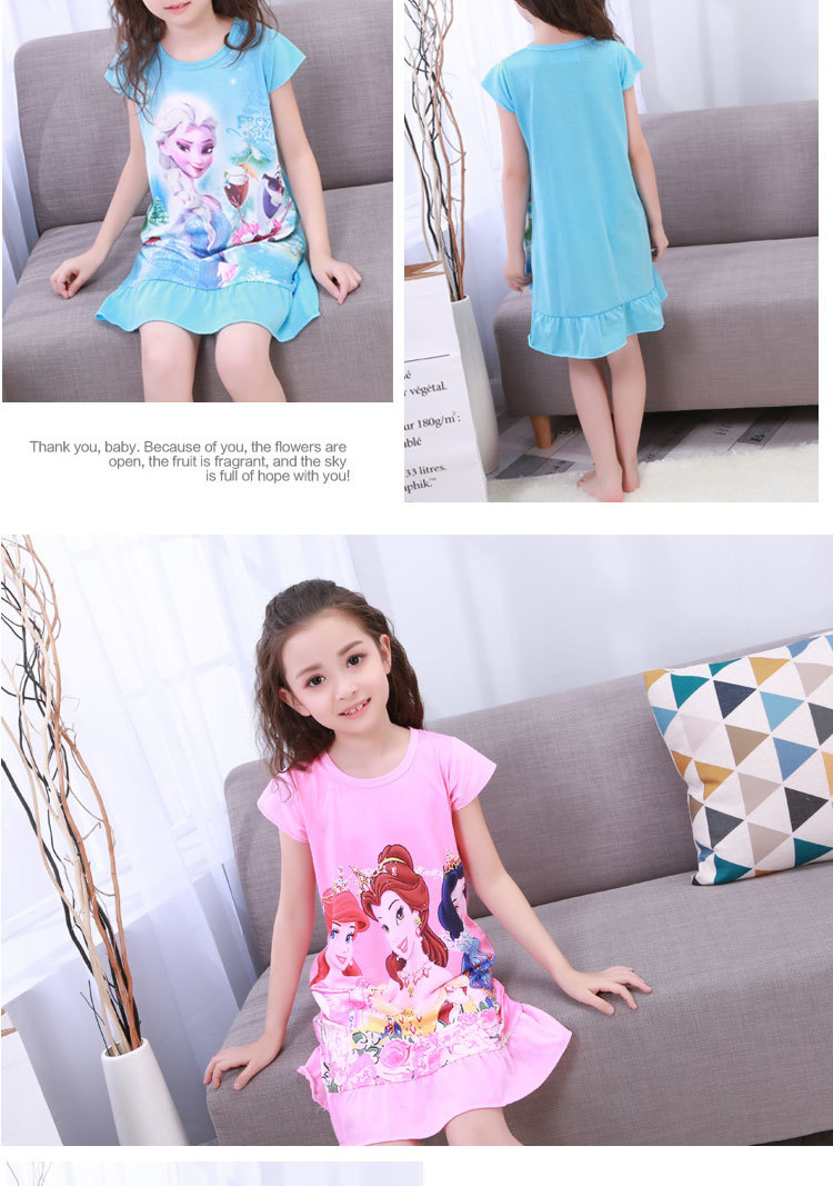 New Listing 19 Children pajamas Summer Dresses Girls Baby Pajamas Cotton Princess girl Nightgown Home Cltohing Girl Sleepwear 3