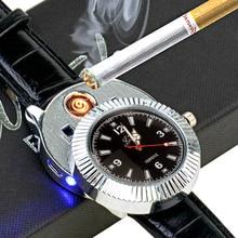 Relojes de los hombres con USB Electrónico Recargable Sin Llama A Prueba de Viento Encendedor de Cigarrillos saat relogio masculino Hombres relojes de pulsera 50