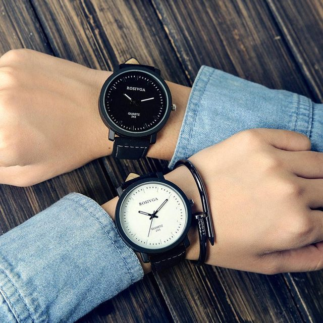 Lover Unisex Watch Women Men Clock Quartz Analog PU Leather Strap Watches Reloje