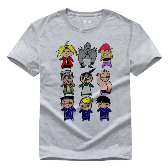 Fullmetal Alchemist T Shirts Hombres O Cuello de Algodón de Manga Corta camisetas Tamaño Euro Hombre Camisas Tops de Dibujos Animados anime tee shirt homme