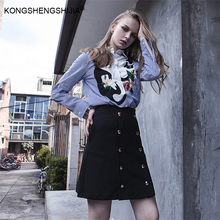 embroidery cat blouse skirt set two piece set runway autumn winter suits casual ladies 2 piece set