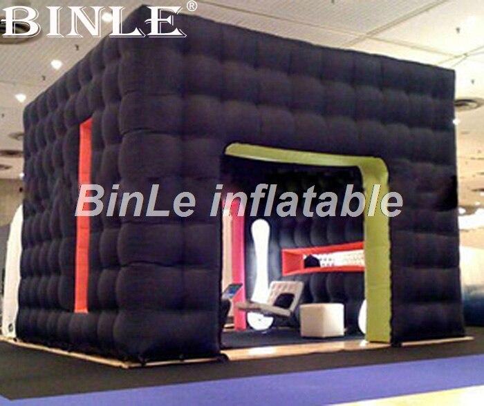Offre spéciale noir 4 m x 4 m x 3.2 m cube gonflable tente gonflable kiosque de cabine de photo pour l'événement partie exposition