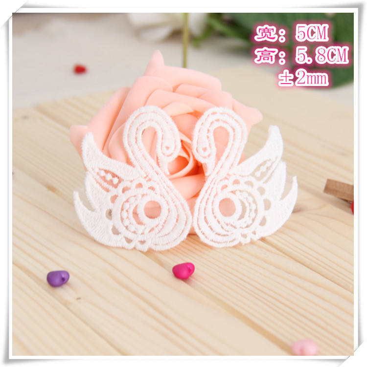 10pairs/lot 5x5.8cm Organza Embroidery White Swan Sew On Patch For Children Clothing Decorative Diy Accessories Appliqued1306 Arts,crafts & Sewing