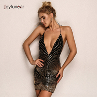Joyfunear Deep v neck sequin sexy dress Women elegant evening party short dress Casual sleeveless summer dress women vestidos