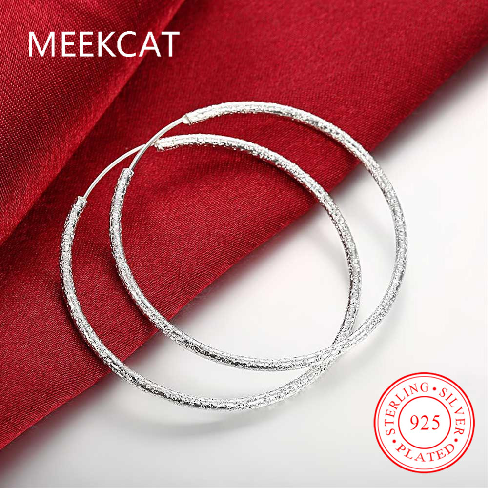 f7fb62aae3 Scrub Round Creole Big Hoop Earrings for Women Silver Plated Round Earring  European Brand Fashion Jewelry Gift 2017