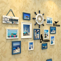 1 Set 13 Pcs Mediterranean Style Picture Photo Frame Wood Wall Mural Photos Frames Wall Sticker
