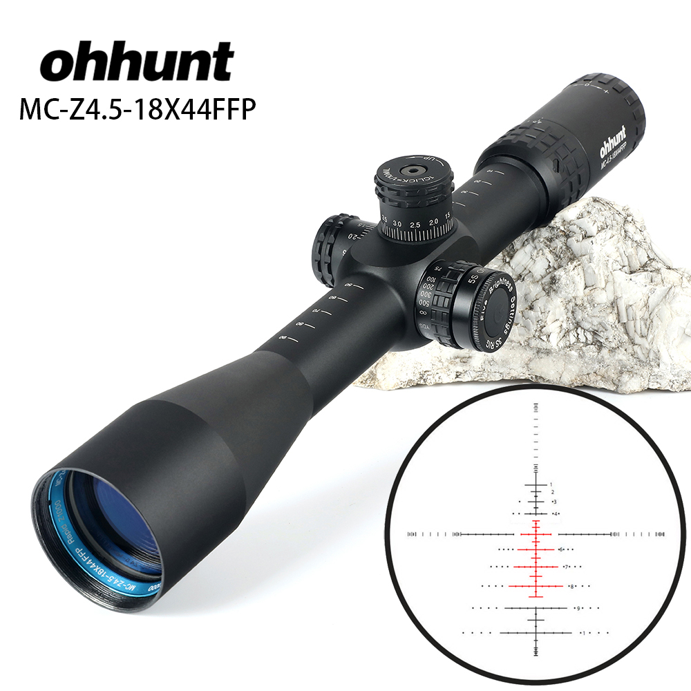 Ohhunt MC-Z 4,5-18X44 FFP Primer plano Focal caza visor óptico lado Parallax Z1000 vidrio grabado retícula bloqueo reinicio alcance Juego de 12 unidades de herramientas ópticas para FTTH, con filtro de fibra de SKL-8A y medidor de Potencia Óptica, localizador Visual de fallos en 5km