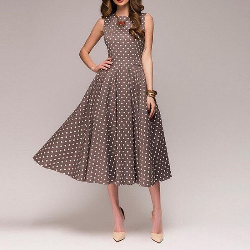 f8d31bee6d4f Vestido Vintage de verano para mujer nuevo sin mangas cuello redondo  elegante fino estampado de ...